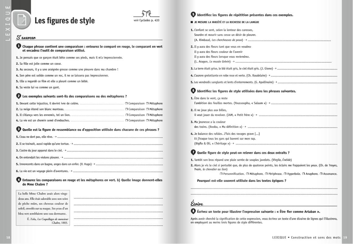Cahier exercices 5ème {Français} - chouette y a plus ecole
